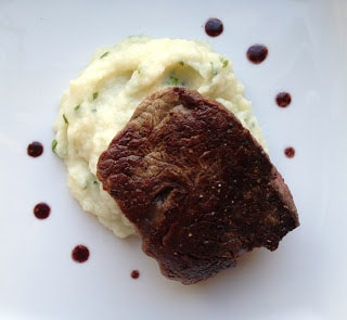 filet-mignon-with-red-wine-sauce-and-cauliflower-puree-with-parmesan-and-chives