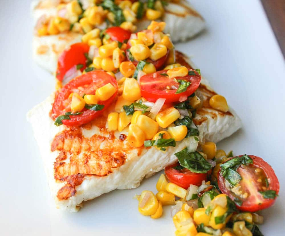 Grilled Halibut with Cherry Tomato and Corn Salsa