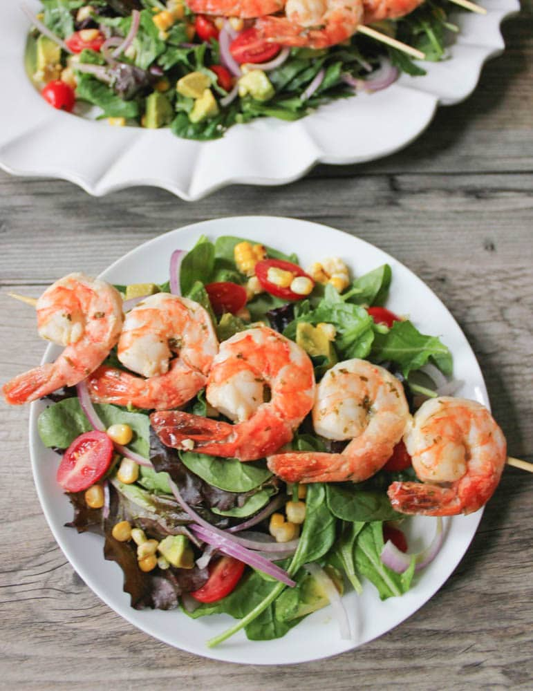 Best-Summer-Grilling-Recipes-Summer-Salad-with-Corn-Avocado-and-Grilled-Herb-Shrimp