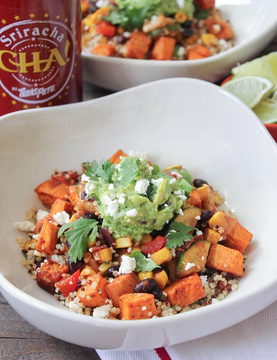 Vegan-Sweet-Potato-Burrito-Bowls-with-Summer-Vegetables-and-Quinoa