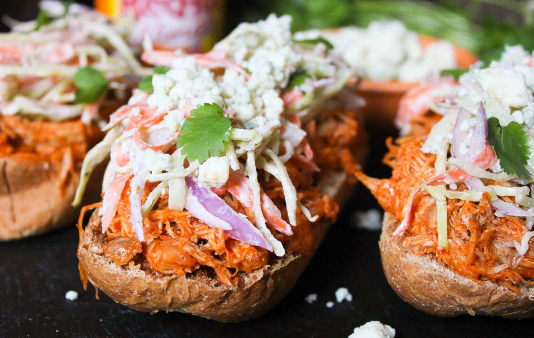 Open-Face Buffalo-Chicken-Subs-with-Ranch-Slaw-and-Blue-Cheese-Crumbles-5