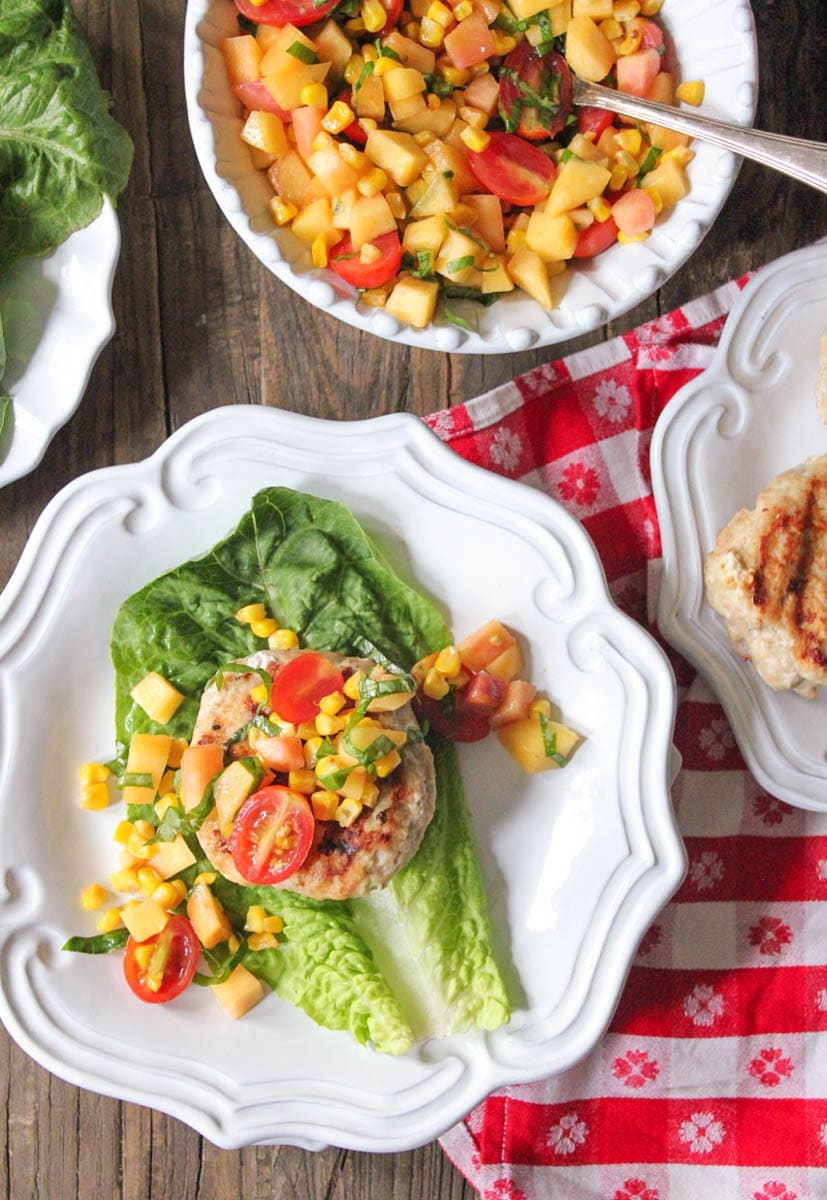 chicken-and-goat-cheese-burgers-with-peaches-corn-and-cherry-tomatoes-3