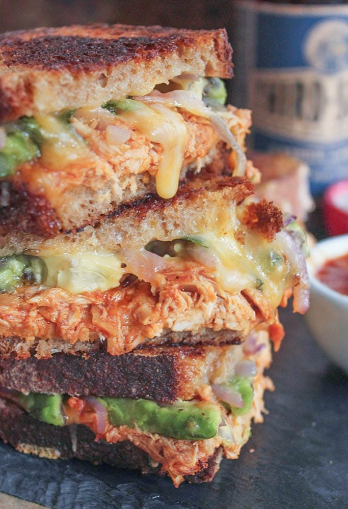 Barbecue-Chicken-Grilled-Cheese-with-Avocado-Cilantro-and-Red-Onion