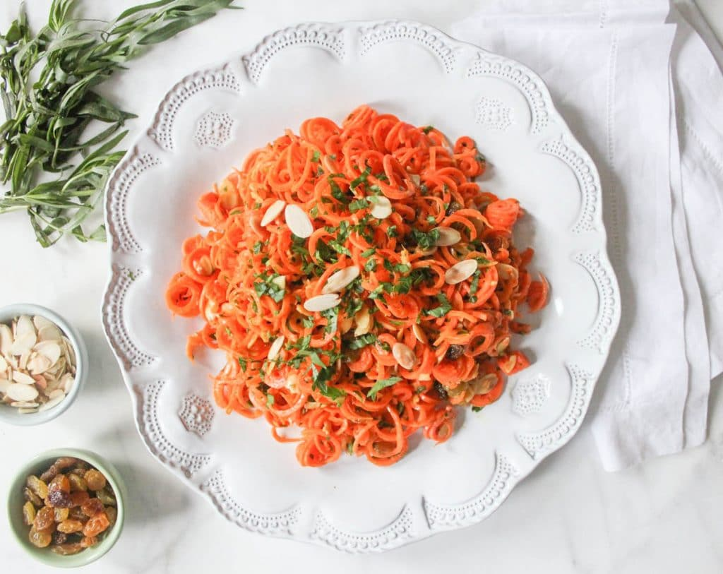 Spiralized Carrot Salad with Herbs and Toasted Almonds