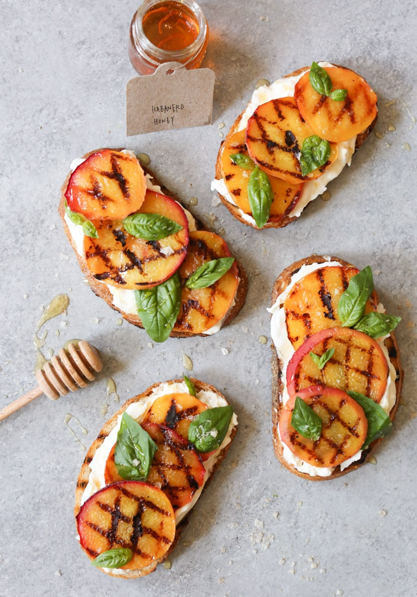 Grilled-Peach-Tartines-with-Burrata-Basil-Honey-3
