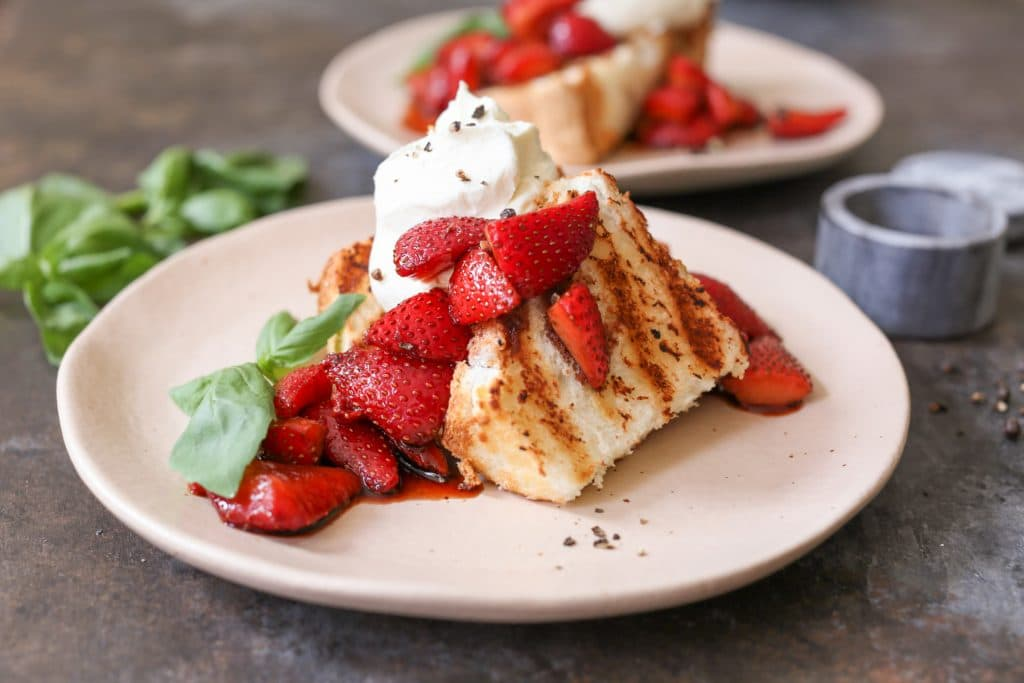 Grilled Angel Food Cake with Whipped Mascarpone and Balsamic Strawberries