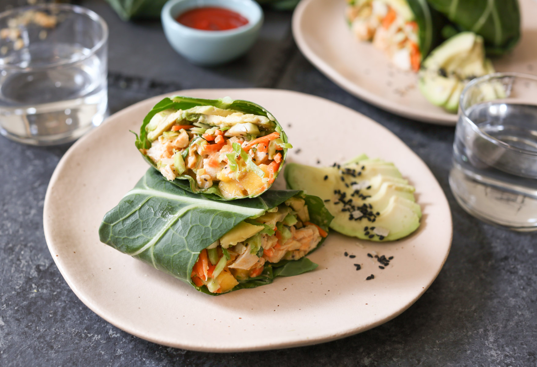 sriracha-chicken-salad-collard-wraps-with-mango-avocado-and-slaw-7