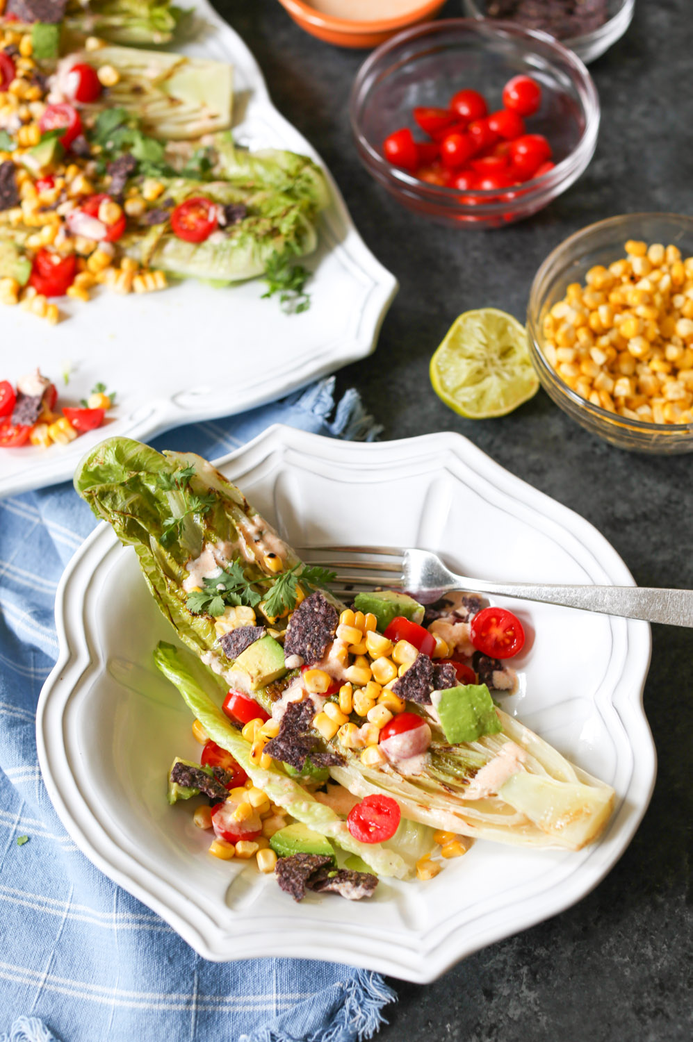 Fiesta Summer Salad with Grilled Romaine