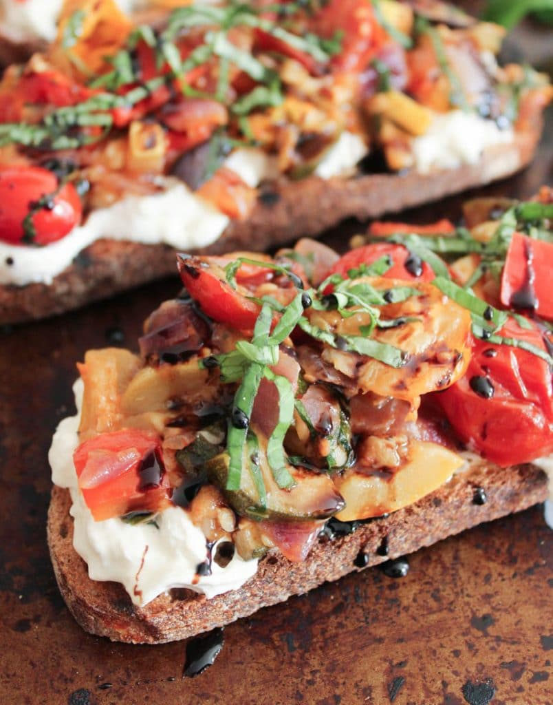 Summer Ratatouille Tartines with Burrata and Honey-Balsamic Drizzle