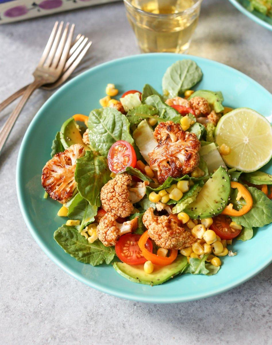 20 Satisfying Vegetarian Recipes- Roasted BBQ Cauliflower Salad