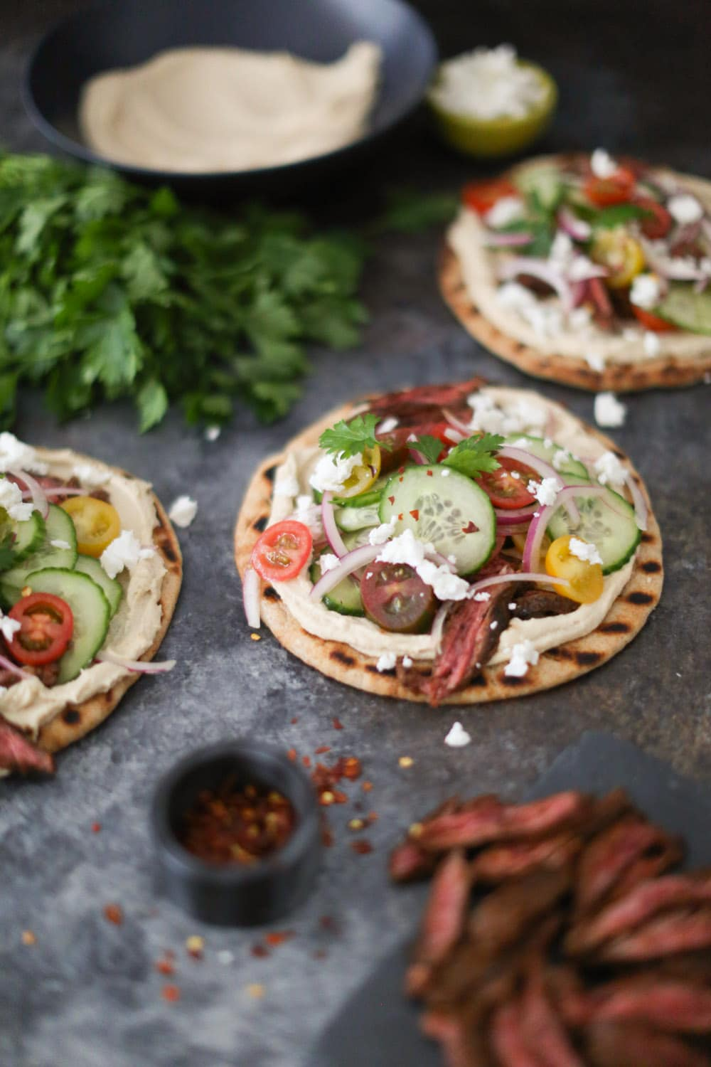 Mediterranean Grilled Skirt Steak Flatbreads