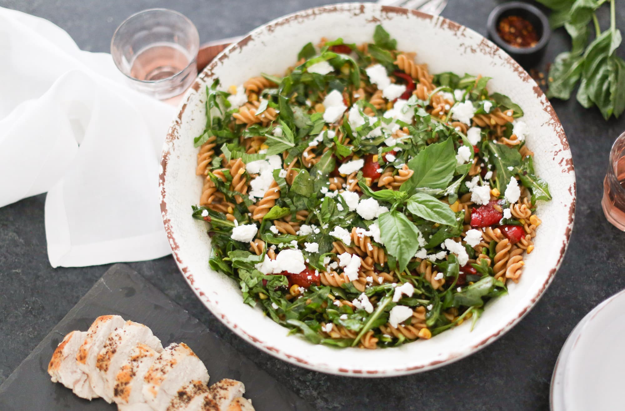 Pasta Salad with Arugula, Roasted Red Peppers, and Sweet Corn