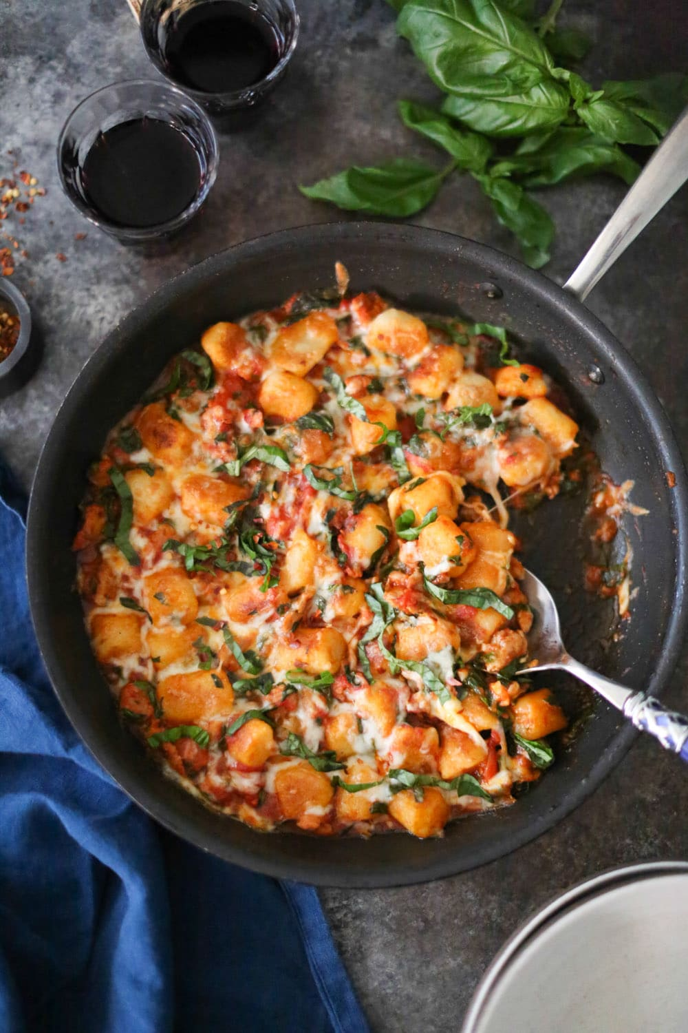Skillet Cauliflower Gnocchi with Sausage and Spinach