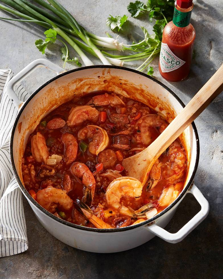 Healthy Pantry Recipes- Brown Rice Jambalaya with Shrimp and Chicken Sausage
