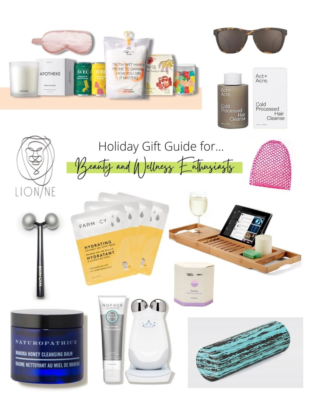 Collage of holiday gift ideas for beauty and wellness lovers.