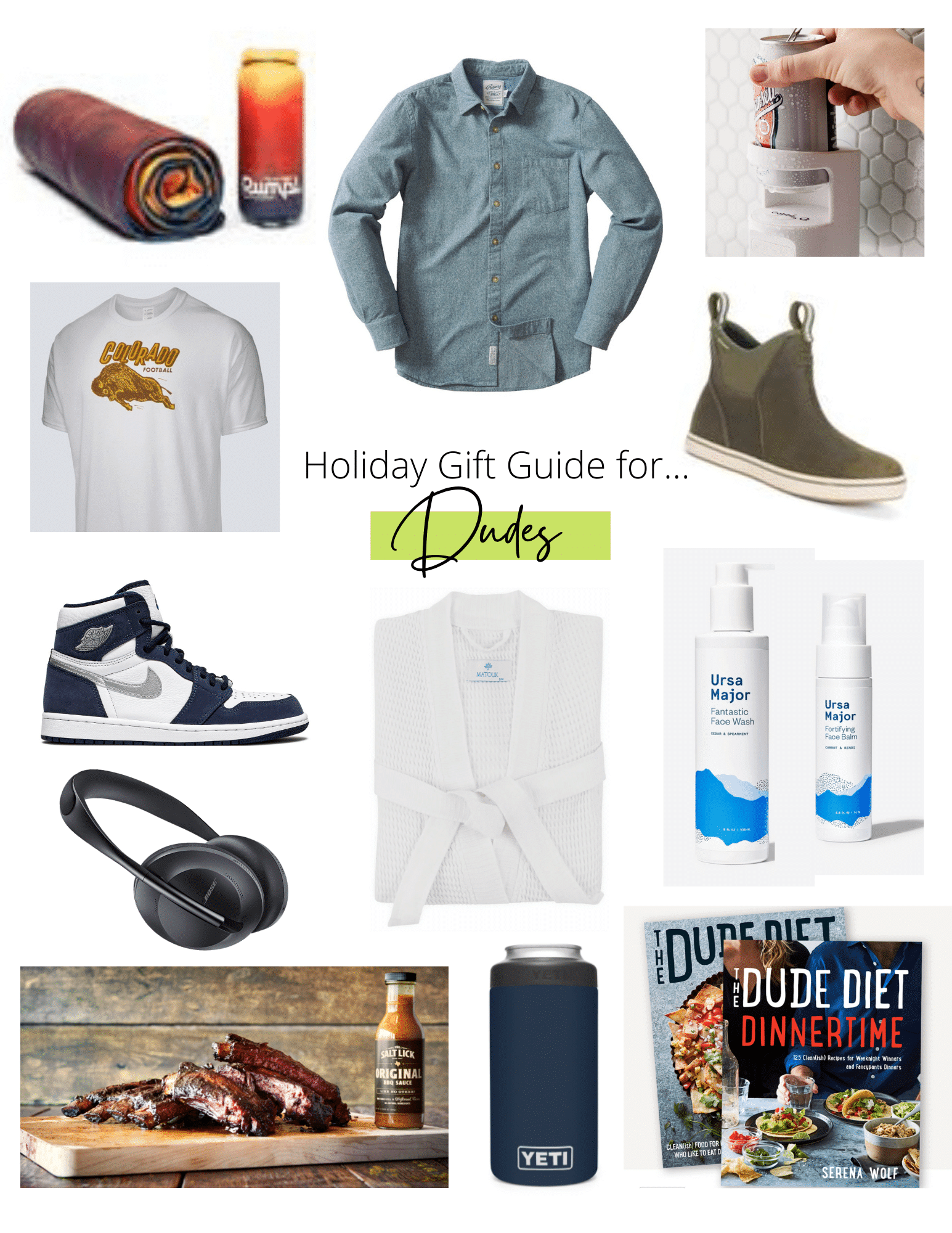 Collage of holiday gift ideas for men.